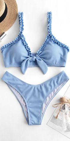 ZAFUL Ribbed Lettuce Strap Bikini Set Day Sky Blue Source by floxalox bikinis Trendy Bikinis, Summer Bikinis, Zaful Bikinis, Swimwear Fashion, Bikini Swimwear, Bikini Fashion, Böhmisches Outfit, Mode Du Bikini, Lace Swimsuit
