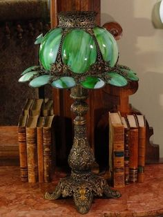 Lovely Victorian Slag Glass Lamp from stidwillsantiques on Ruby Lane ~ Something unworldly about this. Which makes it steampunk attractive. Victorian Lighting, Victorian Lamps, Victorian Furniture, Antique Lamps, Antique Lighting, Vintage Lamps, Victorian Era, Vintage Books, Chandeliers