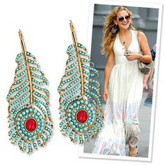 Shoulder-dusting earrings, like these peacock feathers from Kenneth Jay Lane, are the perfect addition to a bare, bohemian halter.