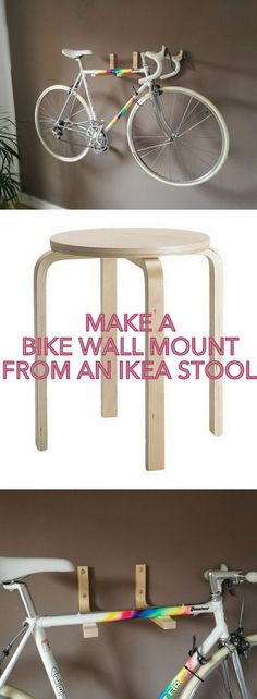 Don't you just love the ever versatile FROSTA stool? http://www.ikeahackers.net/2017/03/frosta-bike-wall-mount.html