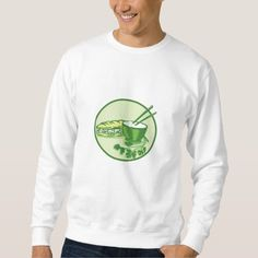 Banh Mi Rice Bowl Coriander Circle Retro Pullover Sweatshirts. Illustration of banh mi rice bowl with chopstick coriander and meat-filled sandwich on the side set inside circle on isolated background done in retro style. #Illustration #BanhMiRiceBowl