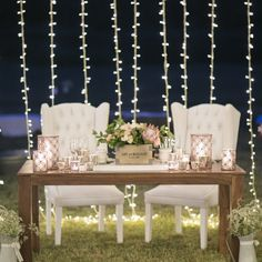 Love this sweetheart table with twinkle light backdrop - one detail from this pastel festival style wedding (Jack & Jane Photography)