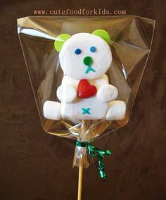 Cute Food For Kids?: Marshmallow Pop: Teddy Bear