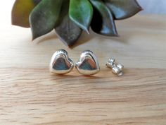 Wonderful 925 Silver Flat Heart Earrings With 3D & Shiny Finish,Stud Earring,Heart Earring,Teens Earring,Personalized Gifts,Gifts For Her by Supsilver on Etsy