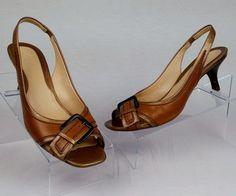 COLE HAAN Women's Brown Leather Slingback Heels Great Big Buckle 7.5 B  #ColeHaan #Slingbacks