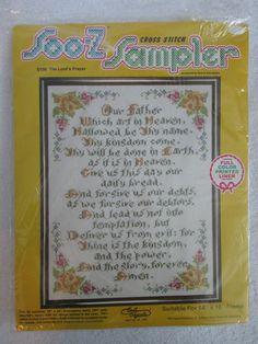 "The Lord's Prayer Cross Stitch Sampler Kit 14"" x 18"" Full Color Printed Linen"