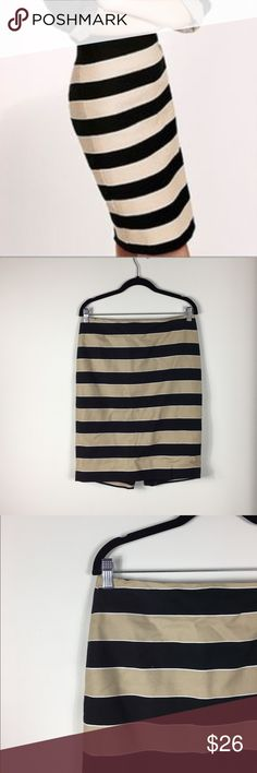 "LOFT Tan+Black Striped Pencil Skirt LOFT tan+black striped pencil skirt. Form fitting and super flattering! Looks super cute with a pair of black tights. 23"" length. Size 8. Worn once, excellent pre-owned condition. No modeling/trades. LOFT Skirts Pencil"