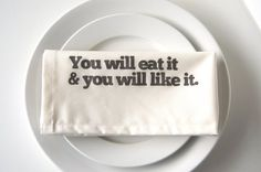 Set of Eight Hand Printed Cloth Napkins in You by printinggrounds, $64.00