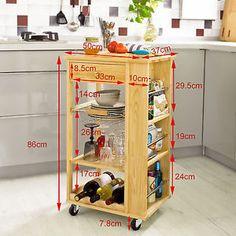 SoBuy® Kitchen Trolley Cart with Side Shelves Removable Basket,FKW12-N,Nature,UK