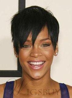 #WigsBuy - #WigsBuy Custom Rihannas Sexy Hair Style Super Short Straight Black Natural Wig 100% Human Hair - AdoreWe.com
