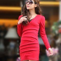 42.00  2012 new winter long-sleeved nightclubs in Europe and America Slim was thin package hip dress bride Korean the bud