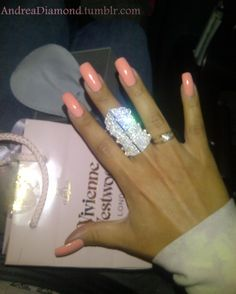 Fab Ring and peach nails