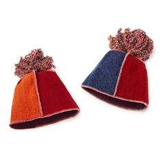 upcycled sweater hats. love to tassle