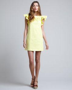 Ruffle-Sleeve Shift Dress, Lemon by RED Valentino at Neiman Marcus.  Love!!