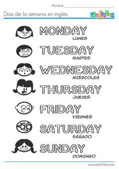 Aprender los días de la semana en inglés.  http://www.edufichas.com/actividades/idiomas/ingles/los-dias-de-la-semana-en-ingles/