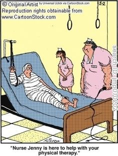 CartoonStock - 'Nurse Jenny is here to help with your physical therapy. Physical Therapy Memes, Physical Therapist, Medical Humor, Nurse Humor, Funny Medical, Funny Nursing, Political Cartoons, Funny Cartoons, Chiropractic Humor