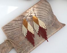 Etsy :: Your place to buy and sell all things handmade Long Tassel Earrings, Fringe Earrings, Beaded Earrings, Etsy Earrings, Long Fringes, Seed Beads, Seeds, Handmade, Jewelry