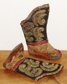 Pair of Chinese Silk Bound Feet Lotus Shoes / Boots | eBay