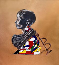 Silas Motse   Maikutlo Aka a Imetswe, contemporary African portrait for sale   StateoftheART Middle Passage, Vibrant Colors, Colours, Elderly Man, Small Boy, Brown Paper, Paper Size, Online Art Gallery, The Help