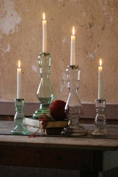Recycled Glass Candle Stands 2pc