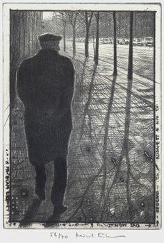 Mikael Kihlman, Aleksandar in Novi Sad, drypoint, 10x7 cm, 2000