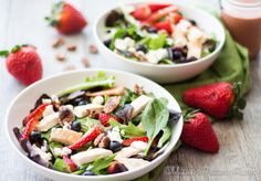 A perfect spring salad filled with juicy strawberries, candied pecans, goat cheese, tender greens and a simple strawberry balsamic vinaigrette.
