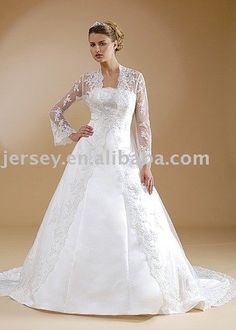 Long Lace Bridal Jacket Wedding Gowns With Sleeves Shawl