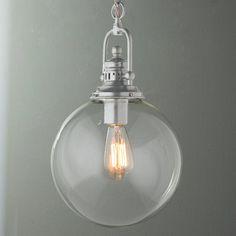 Clear Glass Globe Industrial Pendant