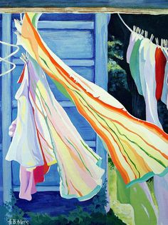 Alida Akers  Sunshine Laundry  This is one of my original acrylic paintings. Clotheslines are one of my fav things so often I paint my idea of the perfect laundry day. Mother Nature always manages to create a day much more lovely than my paintings, but then...she has had MUCH more practice.