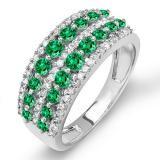 Share 1.15 Carat (ctw) 14k White Gold Round Green Emerald And White Diamond Ladies Anniversary Wedding Band Ring - Dazzling Rock #https://www.pinterest.com/dazzlingrock/