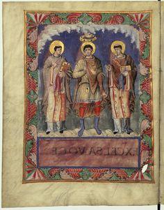 Charles le Chauve avec les papes Gélase et Grégoire Ier, dans le sacramentaire de Charles le Chauve (École de la cour de Charles le Chauve, vers 870).