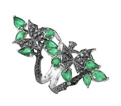 Stephen Webster Fly by Night Couture Long Ring with black diamonds and emeralds