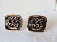 Vintage Goldtone & Black Ship Design Cufflinks #Unbranded