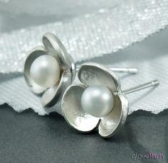 Silver Post Earrings, Sterling Silver, Tiny Flower Earrings, Freshwater Pearls, Stud Earrings, Bridesmaid Jewelry. $21.99, via Etsy.