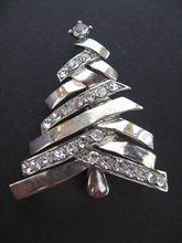 Vintage Chrome Zig-Zag Branches Christmas tree pin w/rhinestone settings