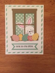 You are purchasing a card kit of 4 Easter cards with a bunny looking through a window card kit. A sample of the card is included with enough supplies to make 3 more cards. These were made using mostly Stampin Up products and a few other supplies. | eBay!