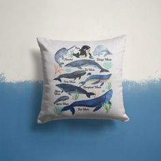 """Whale Pillow Cover Watercolor Whale Throw Pillow Types Of Whales Shirt Illustrated Whale Gift Idea Nautical Decor 15"""" Square Fin Whale, Gray Whale, Throw Pillow Covers, Throw Pillows, Pillow Cases, Types Of Whales, Whale Pillow, Watercolor Whale, Whale Shirt"""