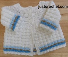 FREE crochet pattern for a Textured Coat by JustCrochet. The adorable coat is perfect for newborn boys and girls.