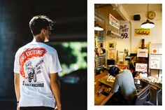Deus Ex Machina celebrates Custom Motorcycles, Surfboards, Clothing and Accessories Deus Ex Machina, Signwriting, Surfing, How To Apply, Celebrities, Surfboards, Mens Tops, Custom Motorcycles, Motorbikes