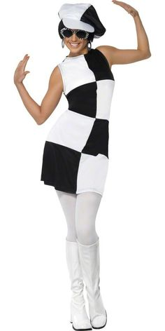 Looking for Party Girl Costume, Black and White? Get it from our wholesale Groovy Fancy Dress range today. Visits Smiffy's wholesale for all your Adult Fancy Dress needs today. Costumes Sexy Halloween, 1960s Costumes, Retro Costume, Girl Costumes, Costumes For Women, Adult Halloween, Dance Costumes, 1960s Fancy Dress, Fancy Dress Ball