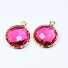 Charms Rubellite Quartz Round Coin 10mm handmade by jewelsexports, $3.72