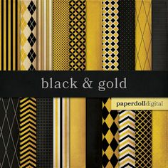 Black and Gold Digital Paper  Chevron Paper  by paperdolldigital