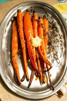 Hot Honey Thyme Roasted Carrots