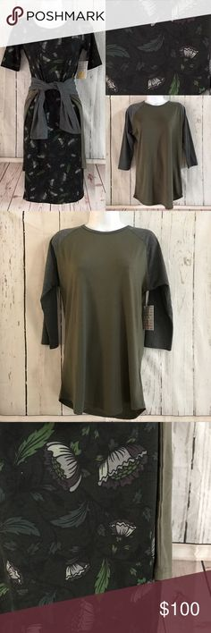 Lularoe outfit Set. Julia & Randy Both items included in this set. Black & green tone Julia Dress size XS. Army green and charcoal grey Randy baseball tee size small. LuLaRoe Dresses Midi