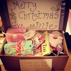 """A little idea I saw somewhere! A beautiful little hamper for Christmas Eve for my 2 year old daughter with new pyjamas, new slippers, a new bedtime story, a christmas teddy, her favourite chocolates, a letter from Santa and some some """"reindeer feed""""."""