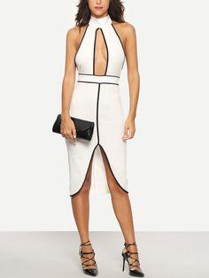 White Halter Sleeveless Cutout Sheath Dress -SheIn(Sheinside) Mobile Site