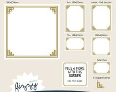 13 X Art Deco Templates Invite Clipart Gold Digital Files With Instant