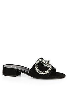 Gucci Maxime Crystal Suede Slides