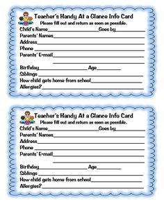 "Beginning of year information cards.  Probably better if you fill these in yourself.   Scroll down to ""Labels"" and you'll find lots of other ideas to try."