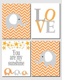 You Are My Sunshine in Orange and Gray - Kids Wall Art You Are My Sunshine Nursery Art Baby by vtdesigns